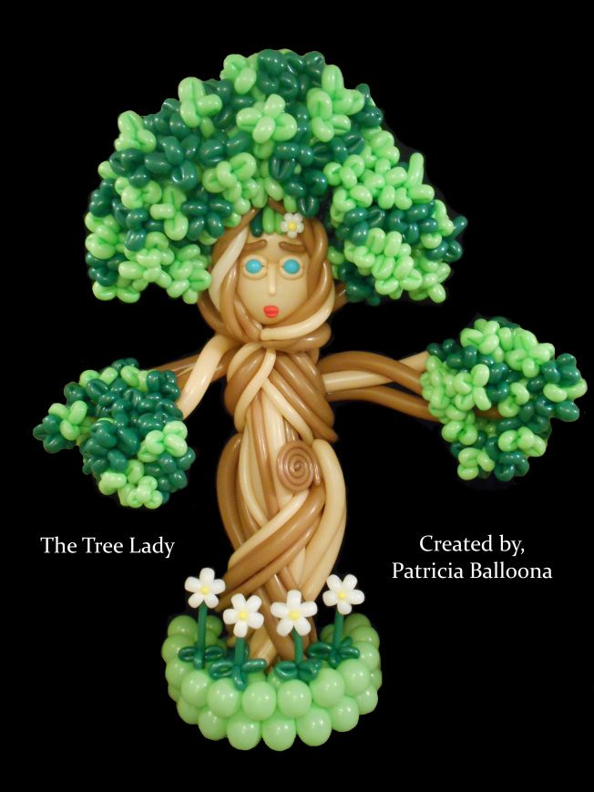 Balloon Tree Lady, https://patriciaballoona.wordpress.com/2015/07/30/497th-and-498th-balloon-sculptures-the-tree-lady-and-daughter-in-mourning/
