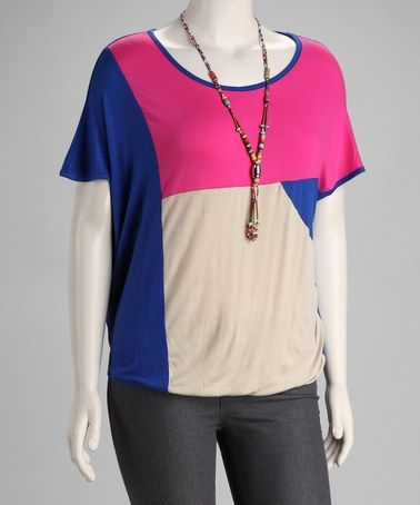 Take a look at this Royal Blue & Pink Color Block Plus-Size Top & Necklace by Buy in America on #zulily today! Description from pinterest.com. I searched for this on bing.com/images