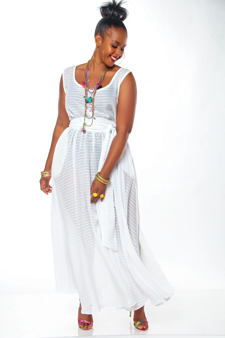 Jibri flowy white poolside sleeveless maxi dress plus for Plus size flowy wedding dresses