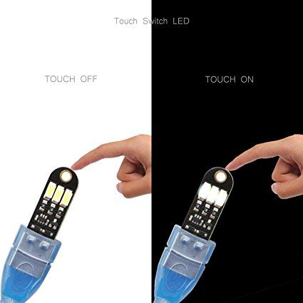 DROK® 5PCS Bianco Mini Touch USB Interruttore di accensione della luce di notte 3 LED 5V 150mA tascabile di Nightlight con interfaccia USB Energy Saving Accessori portachiavi per la decorazione domestica Campeggio regalo per i capretti: Amazon.it: Elettronica