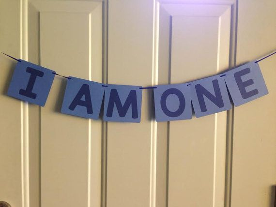 I AM ONE Birthday Banner ~ Ready to Ship ~ 2 tone Blue First Birthday, Photo Prop Banner, 1st birthday, Ready made birthday banner,
