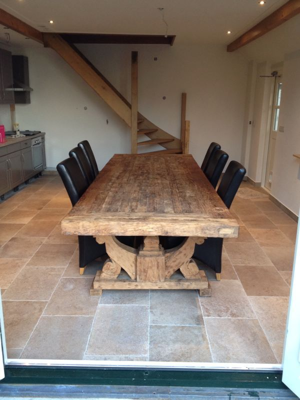 Kasteelvloer in 40x60 in de woonkeuken (48-DD, keramische vloertegel, tegelvloer, woonkamer, keuken, hal). Tegelhuys