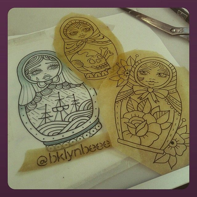 I think I'm starting a small gang of babushkas 🎎 I have some free time next week @truelovetattoo_brisbane for these cuties 😄💖✨ so come on in & get them on ya! 😜💌 bklyn.beee@gmail.com  #tattoo #truelovetattoobrisbane #brisbane #babushka #nestingdolls #traditionaltattoo #ladytattooers #underground_tattooers #neotraditional #oldlines