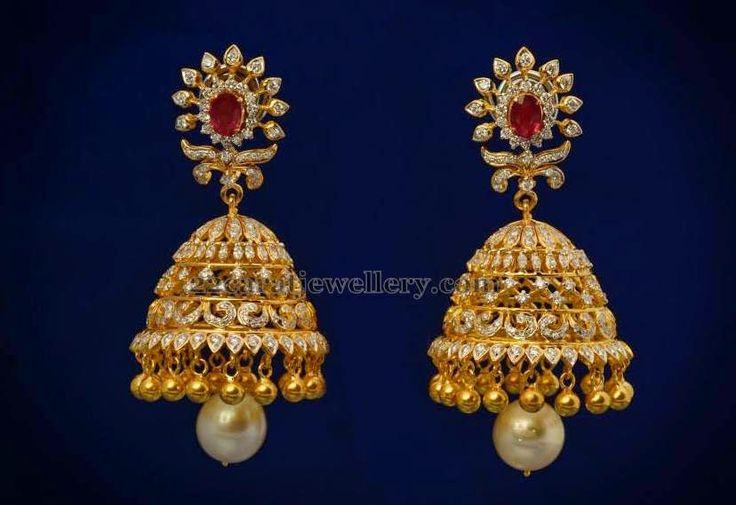 Jewellery Designs: Regal Diamond Jhumkas with Ruby