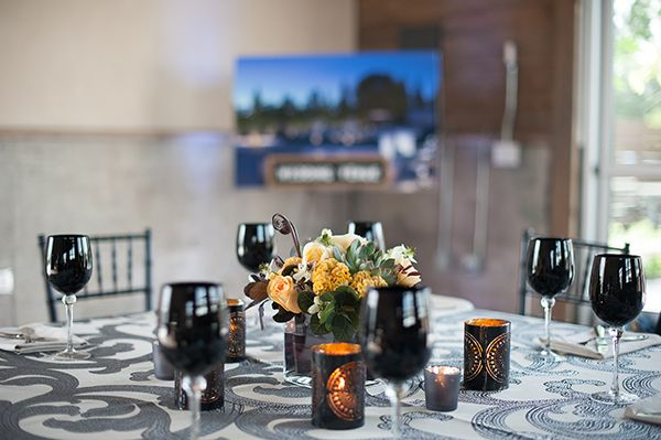 Modern Patterned Table Decor with Anakra Metal Table Linens   Gina Peterson Photography   Modern Industrial Event Inspiration from ISES Napa-Sonoma