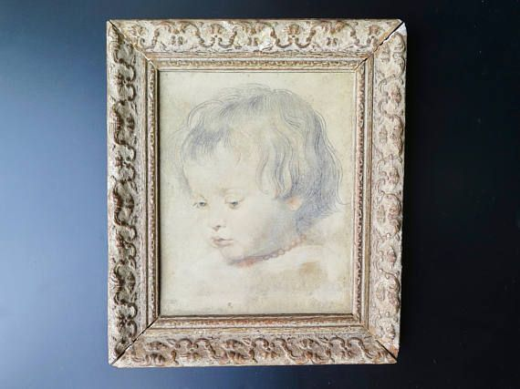 Albertina facsimile print after P. Rubens in beautifully carved wooden frame, ca. 1930   A fine antique print on artists paper dating circa 1920s-30s with wooden frame. From the original by Peter Paul Rubens, Nicholas Rubens with Coral Necklace, ca. 1619.  Embossed insignia Albertina