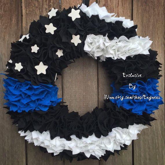 MediumPolice Thin Blue line / Law Enforcement wreath by Enywear