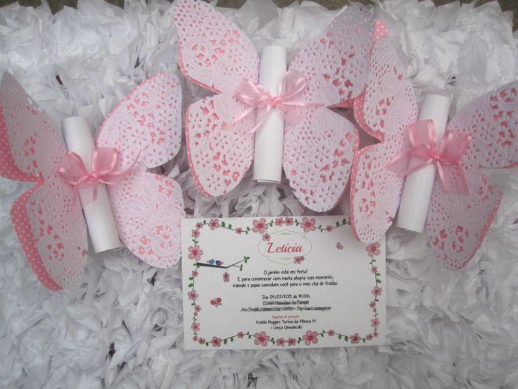 convite borboleta rendado <br>impresso em papel couche 180g <br>Borboleta papel poá 120g <br>tamanho do convite 9,5x 14,5 cm <br>Pedido minimo 30 pçs <br>**tag impresso nome dos convidados acréscimo de 0,30 por convite.