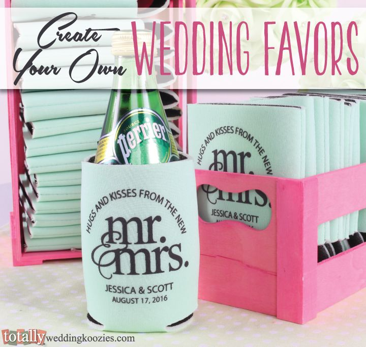Create your own personalized wedding koozie favor with us! We offer over 800 customizable artwork templates & 45 koozie product color options! Your options are endless! Every wedding koozie order also comes with a FREE complimentary bride & groom koozie! Use coupon code PINNER10 and receive 10% off your wedding koozie order! Sale applies to piece price only, not valid with other coupon codes and expires September 30, 2016. #koozies
