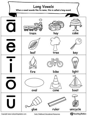 Help your child understanding and recognizing the long vowel sounds with this Long Vowels Sound printable.