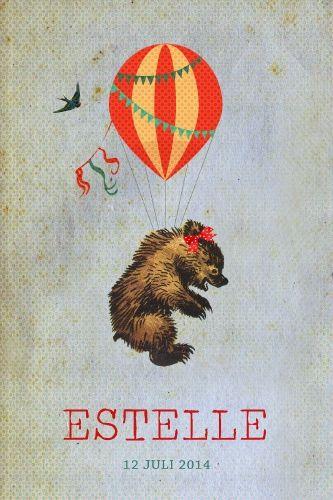 Geboortekaartje meisje of jongen - beertje aan luchtballon- vintage stijl - Pimpelpluis - https://www.facebook.com/pages/Pimpelpluis/188675421305550?ref=hl (# beer - ballon - luchtballon - dieren - vogel - vintage - retro - lief - schattig - origineel)