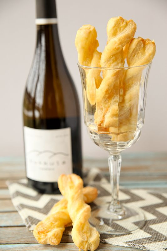"""These 4-ingredient """"Gruyere Cheese Twists"""" and a glass of wine are perfect to get a party started!"""