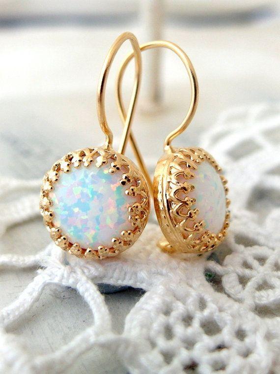 White opal drop earrings | Can be made in drop version or stud version | Opal earrings by EldorTinaJewelry | http://etsy.me/1Lk3dkT