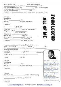 John Legend - All of me - Kids Love English listening through songs