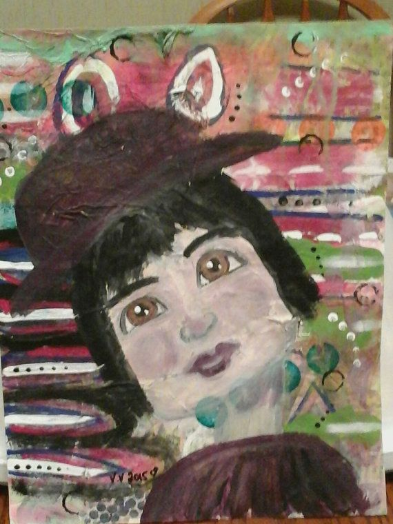 art by valv valvart Hey, I found this really awesome Etsy listing at https://www.etsy.com/ca/listing/242371266/mixed-media-art-brown-eyes-girl-painting