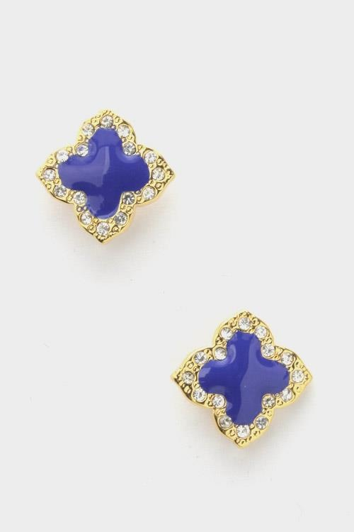 Designer Inspired Crystal Clover Leaf Stud Earrings - Blue and Gold  Quantity: 1  $13.00