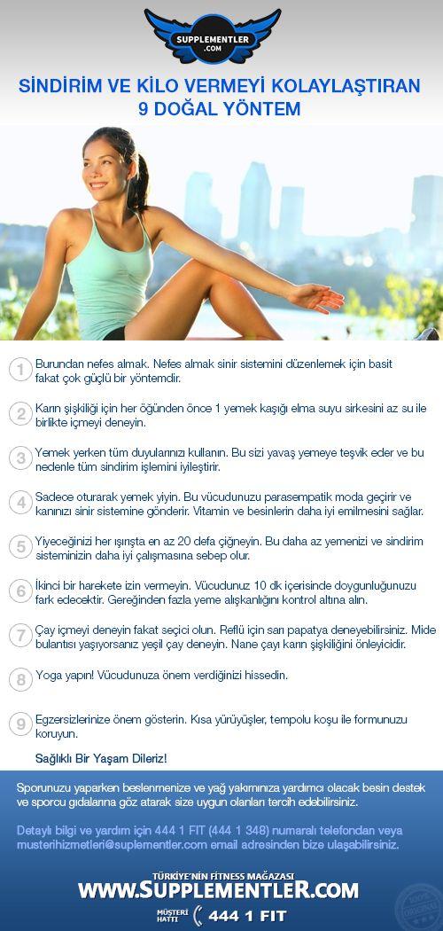 Sindirim ve kilo vermeyi kolaylaştıran 9 doğal yöntem. www.supplementler.com Türkiye'nin Fitness Mağazası