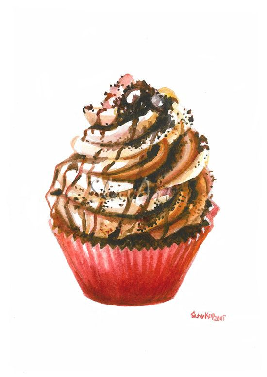 Sweet Cupcake Still Life Print Watercolor Painting Fine Art Food Art Home Decor Realistic Kitchen art Illustration