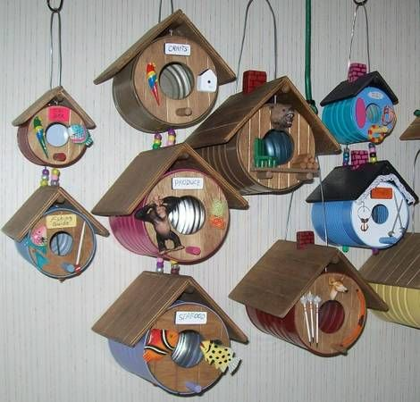 bird houses made from coffee cans.                                                                                                                                                                                 More