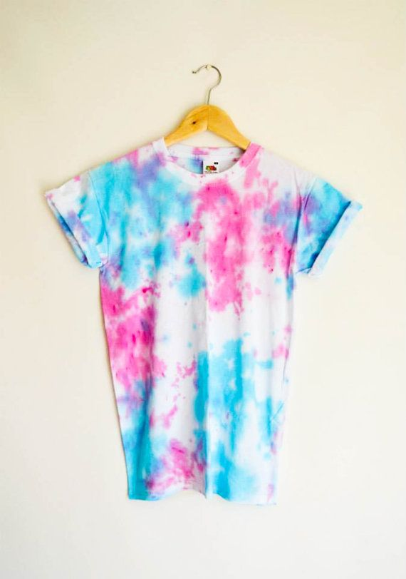 Pink  Blue Tie Dye Top T-Shirt Festival by RetroSpectiveApparel