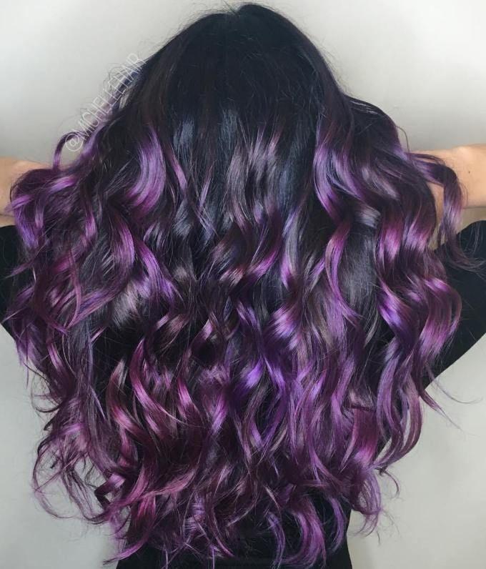 Black Hair With Purple Balayage