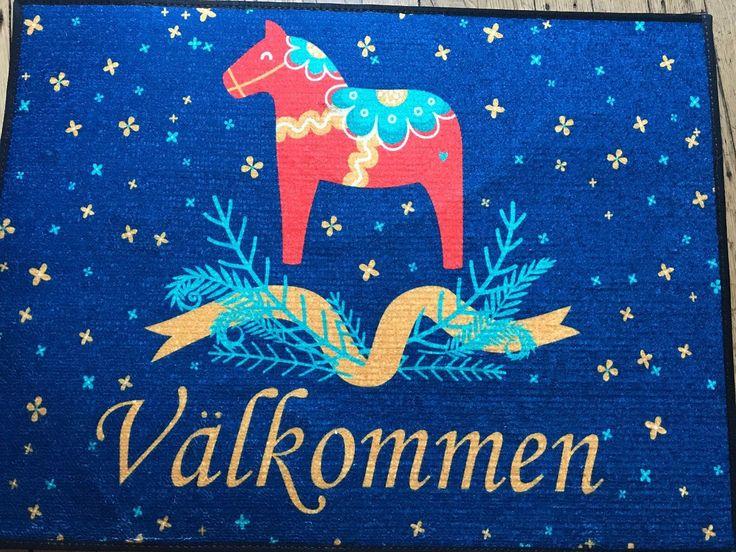 Scandinavian Swedish Dala Horse Valkommen Welcome Door Mat Rug   eBay