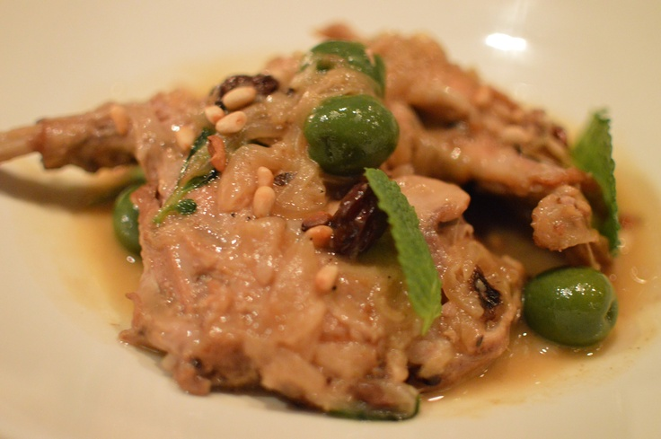 Braised rabbit w olives, capers, pine nuts & raisins