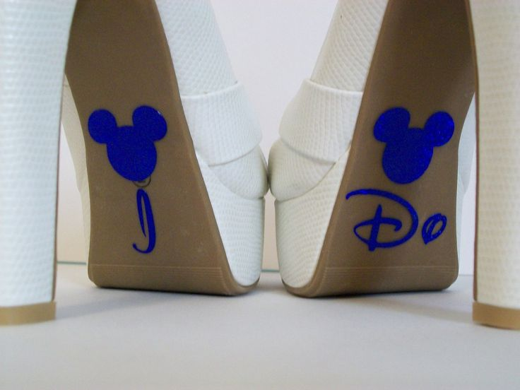 Disney I Do Shoe Blue Glitter Sticker Wedding Photo Op Bridal DIY Sparkly Shoe Decal I Do