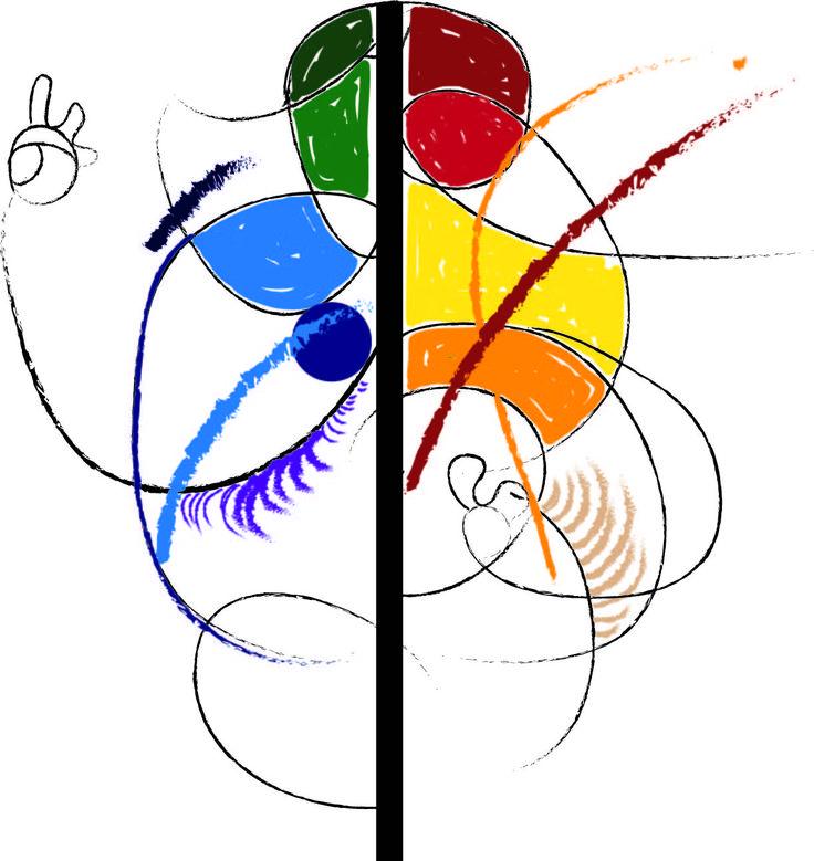 체격있는 사람의 춤을 선과 색을 써서 표현