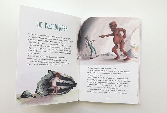 'The bloodbottler / Bloedbottelaar' Illustratie voor de GFR. Crayon & Acryl om paper By studio Hille  /  Hilda Groenesteyn Lay out / Bookdesign by Peter Boersma http://studiohille.nl/illustraties/ #GVR #BFG #Roald Dahl