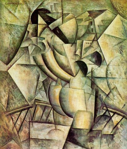 Carlo Carra (1881-1966) - Concurrency, Woman on the Balcony, 1912 - Carrà was an Italian painter, a leading figure of the Futurist movement that flourished in Italy during the beginning of the 20th century.