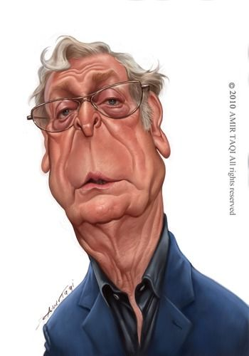 Michael Caine by Amir Taqi, caricature cartoon portrait drawing face stylized