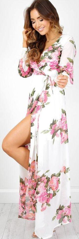 White Floral Slit Chiffon Maxi Dress
