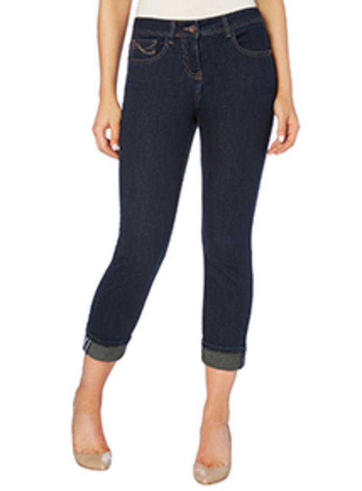 """Make an essential addition to your capsule wardrobe with these girlfriend jeans. In a classic five pocket construction, these dark denim jeans are designed with a tapered leg and upturned cuffs. Style with a structured top and brogues for a pretty finish. Blue dark denim girlfriend jeans 5 pockets Tapered leg Upturned cuffs Zip-fly and button fastening Model's height is 5'11"""" Model wears a size 12"""