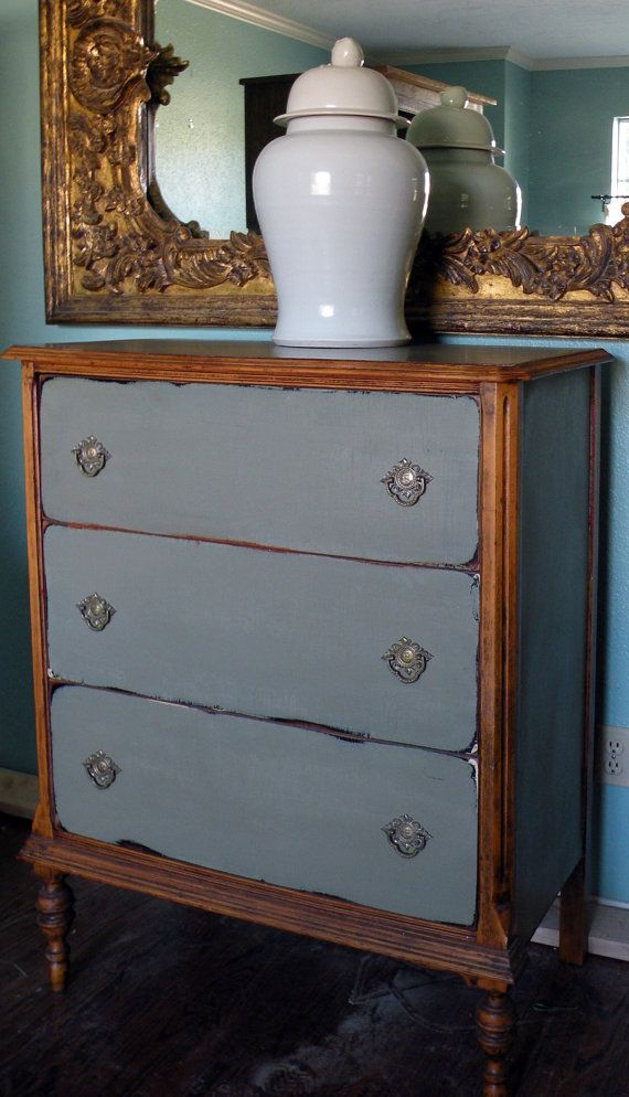 Keeping Original Wood Bare But Adding Distressed Grey Painted Drawers Adds  Elegance And Avoids The Heaviness Of Unadorned Vintage Wood.
