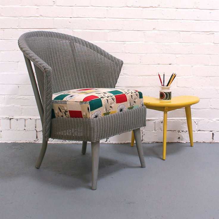 Vintage Lloyd Loom Chair with seat in Tom Mellor 'Flower Pots' restored by Winter's Moon