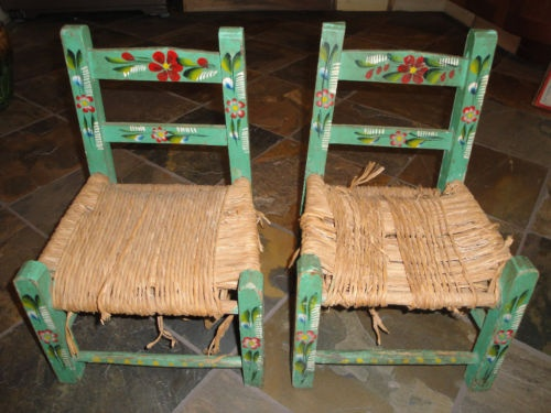 Vintage Made In Mexico Child Folk Art Painted Green Chairs Mexican