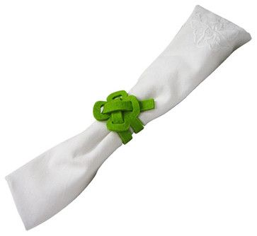 Felt Napkin Holder - Good Luck - Apple Green - contemporary - Napkin Rings - The Felt Store