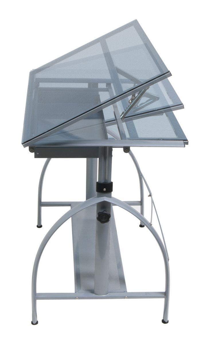 Studio Designs 10060 Avanta Drafting Table / Silver / Blue Glass