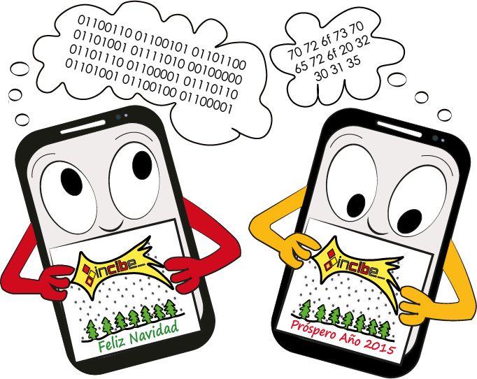 Dos móviles felicitándose la navidad Hexadecimal y binario #doodle