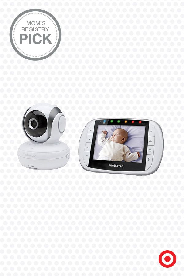 "Check out the Motorola MBP36S Digital 3.5"" Video Baby Monitor, a Mom's Registry Pick. Zoom, pan and rotate the camera using the parent unit. View real-time video on the full-color LCD and play built-in lullabies for your little one. The baby unit features a microphone, infrared night vision and temperature sensor. The options are endless. Seriously."