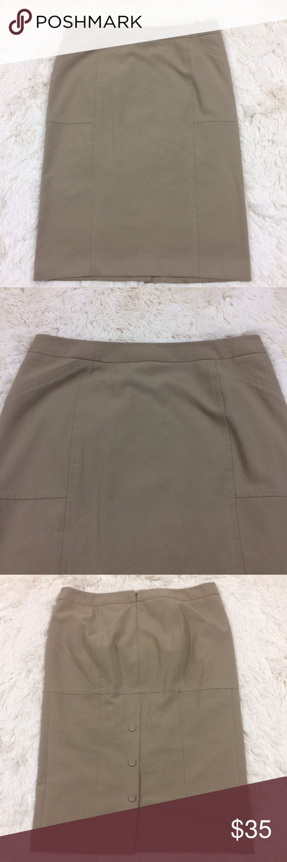 Body by Victoria's Secret tan pencil skirt Tan Body by Victoria's Secret pencil skirt. Three button slit in back. This is a staple for any woman's wardrobe. Classic piece to pair with everything. Victoria's Secret Skirts Pencil
