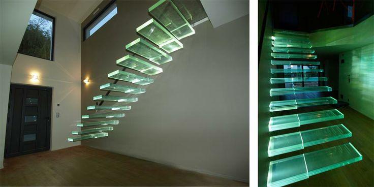 marches d'escalier en verre feuilleté trempé Classica extra-clair, escalier en verre, escalier en verre feuilleté, verre feuilleté, vitrage ...
