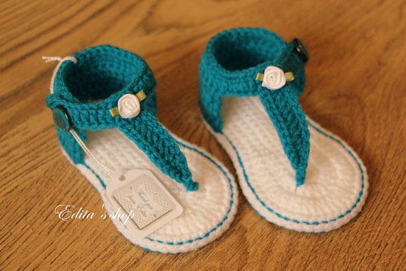 Crochet baby sandals, baby gladiator sandals, baby booties, baby shoes, dark turquoise and white, size 6-9 months, Ready to ship