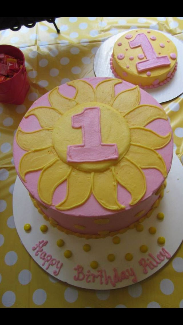 Riley Kate's 1st birthday cake.  You are my sunshine / cakes by Edgar's Bakery