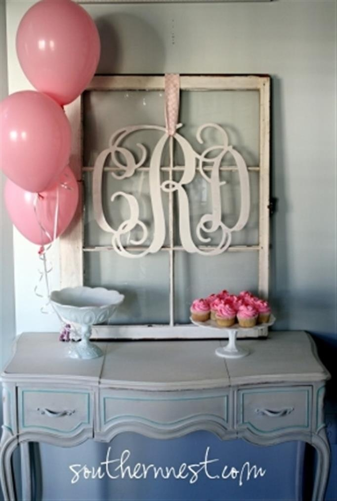 Old window crafts - monogram but I would add colored patterned paper or fabric to the back of each pane