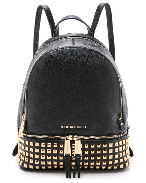 small studded backpack by MICHAEL Michael Kors. Polished studs lend luxe shine to this pebbled leather MICHAEL Michael Kors backpack. 2 exterior zip pockets outfit t...