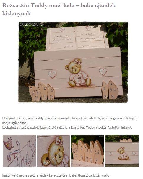 Púder-rózsaszín Teddy maci láda - babalátogató ajándék, névre szólóan, kislánynak. Nézd meg, katt az alábbi linkre >> http://eradekor.hu/keresztelo-ajandek/rozsaszin-teddy-lada-kislanynak-babalatogatoba/