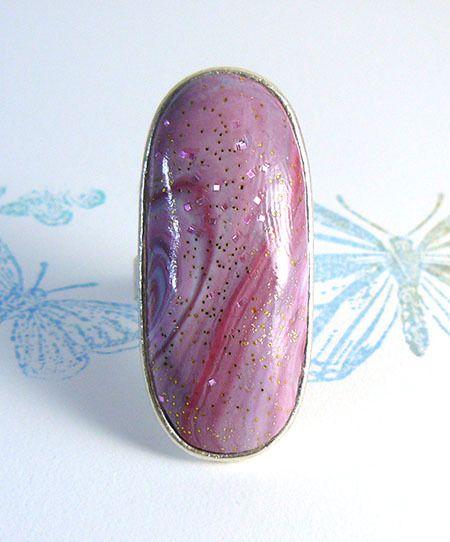 Bague réglable en métal argent et argile polymère rose et mauve : Bague par commeilvousplaira