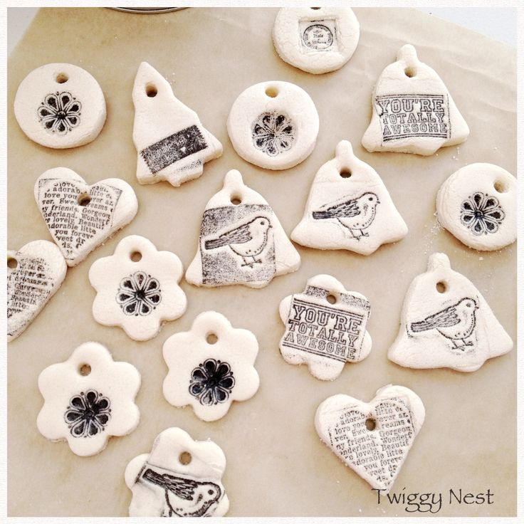 Hand stamped salt dough decorations and gifttags